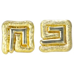 Greek Key Yellow Gold 18 Karat Earrings 22.90 Grams