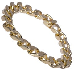 Curb Link Yellow Gold Bracelet 14 Karat 74.1 Grams