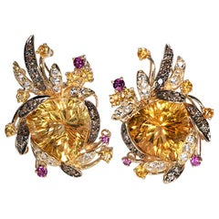 """Levian"" Citrine, Garnet, Topaz & Chocolate Diamond Earrings Yellow Gold 14k"