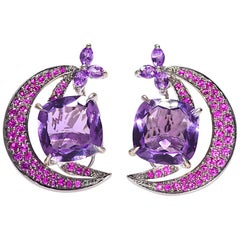 """LeVian"" Pink Sapphire and Amethyst Earrings White Gold 14 Karat"