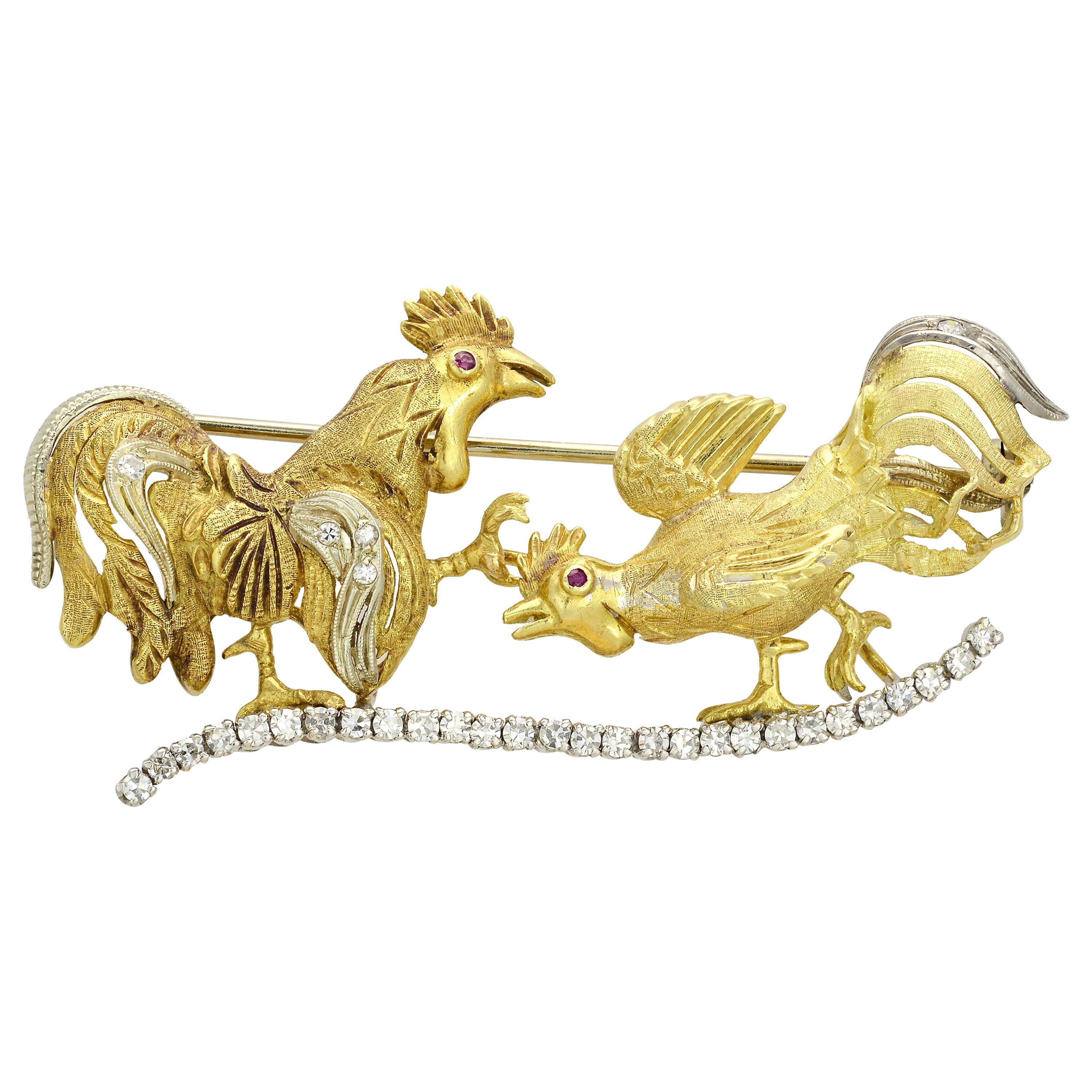 Diamond Rooster Pin