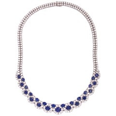 43.50 Carat White Gold Diamond and Sapphire Necklace Earring Set