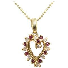 14 Karat Ruby and Diamond Heart