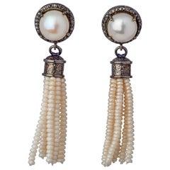 Sterling Silver Tassel Akoya Pearl Drop Earrings