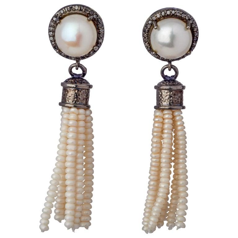 d839ef43ede15 Sterling Silver Tassel Akoya Pearl Drop Earrings