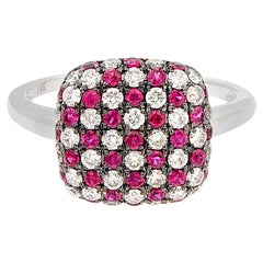 Diamond Ruby Cluster Gold Ring