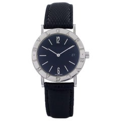 Bulgari Bvlgari Stainless Steel SS BB 33 SLD Quartz Watch with Leather Band