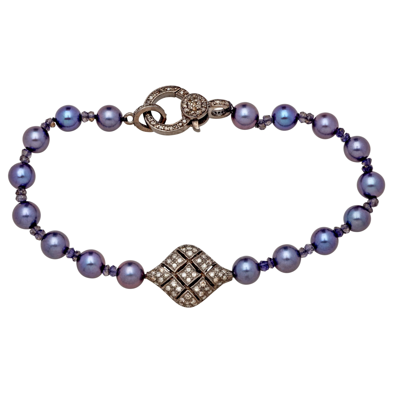Diamond Sterling Silver Puff Charm Bracelet w Akoya Pearls