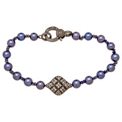 Sterling Silver and Diamond Puff Charm Bracelet with Slate Blue Akoya Pearls