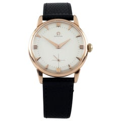Omega Cal. 267 18k Rose Gold Vintage Hand-Winding Watch w/ Black Leather Band