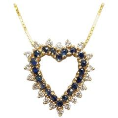 14 Karat Diamond and Sapphire Heart Pendant