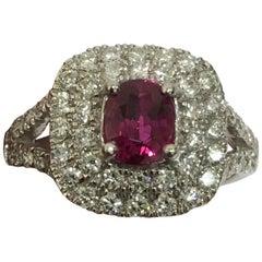 GIA Certified Ruby Diamond Ring Set in Platinum