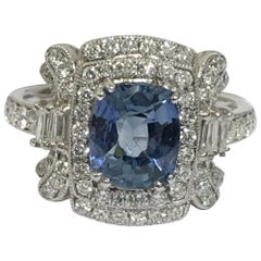AIG Certified Sapphire Diamond Ring Set in Platinum