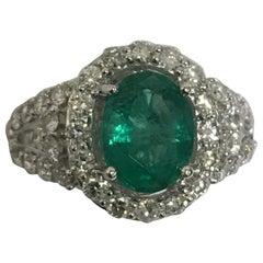 AIG Certified Emerald Diamond Ring Set in Platinum