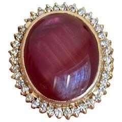 29.50 Carat Star Ruby Diamond Cocktail Ring and 14 Karat