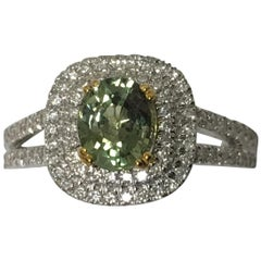 GIA Certified Alexandrite 1.15 Double Halo Ring Set in 18 Karat Two-Tone Gold