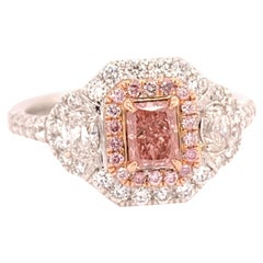 Radiant Cut 0.40 Carat GIA Natural Fancy Orangy Pink Diamond Cocktail Ring