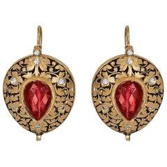 Manjrie Ruby Double-Cut Diamond 22k Gold Artisan Hook Earrings