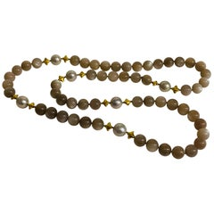Altfield Grey Moonstone, Pearl and Gold Long Necklace