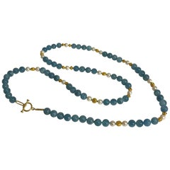 Altfield Aquamarine, Pearl and Gold Necklace