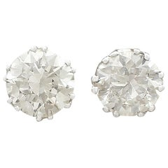1950s 2.39 Carat Diamond and Platinum Stud Earrings