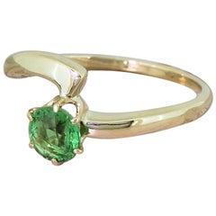 Midcentury 0.75 Carat Demantoid Garnet Solitaire Ring