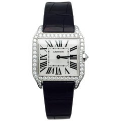 Cartier Watch, white gold Santos Dumont Collection, Diamonds