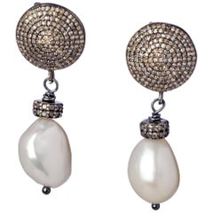 Black Sterling Silver & Diamond Baroque Pearl Drop Earrings