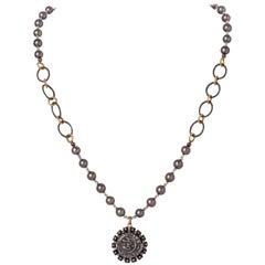 Ilkan Coin & Diamond Pendant Necklace w Akoya Pearls, Vermeil & Silver Chain