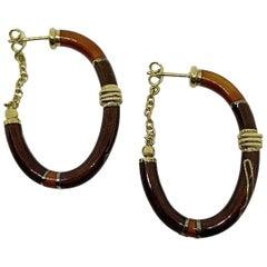 18 Karat Yellow Gold Enameled Earrings