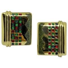 18 Karat Gold Earring Enameled
