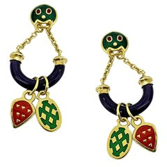 Charms Enameled Earrings in 18 Karat Gold