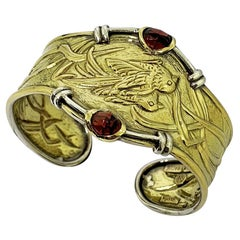 Etruscan Revival Bracelet Handmade Ceseled 18 Karat Yellow Gold Bracelet