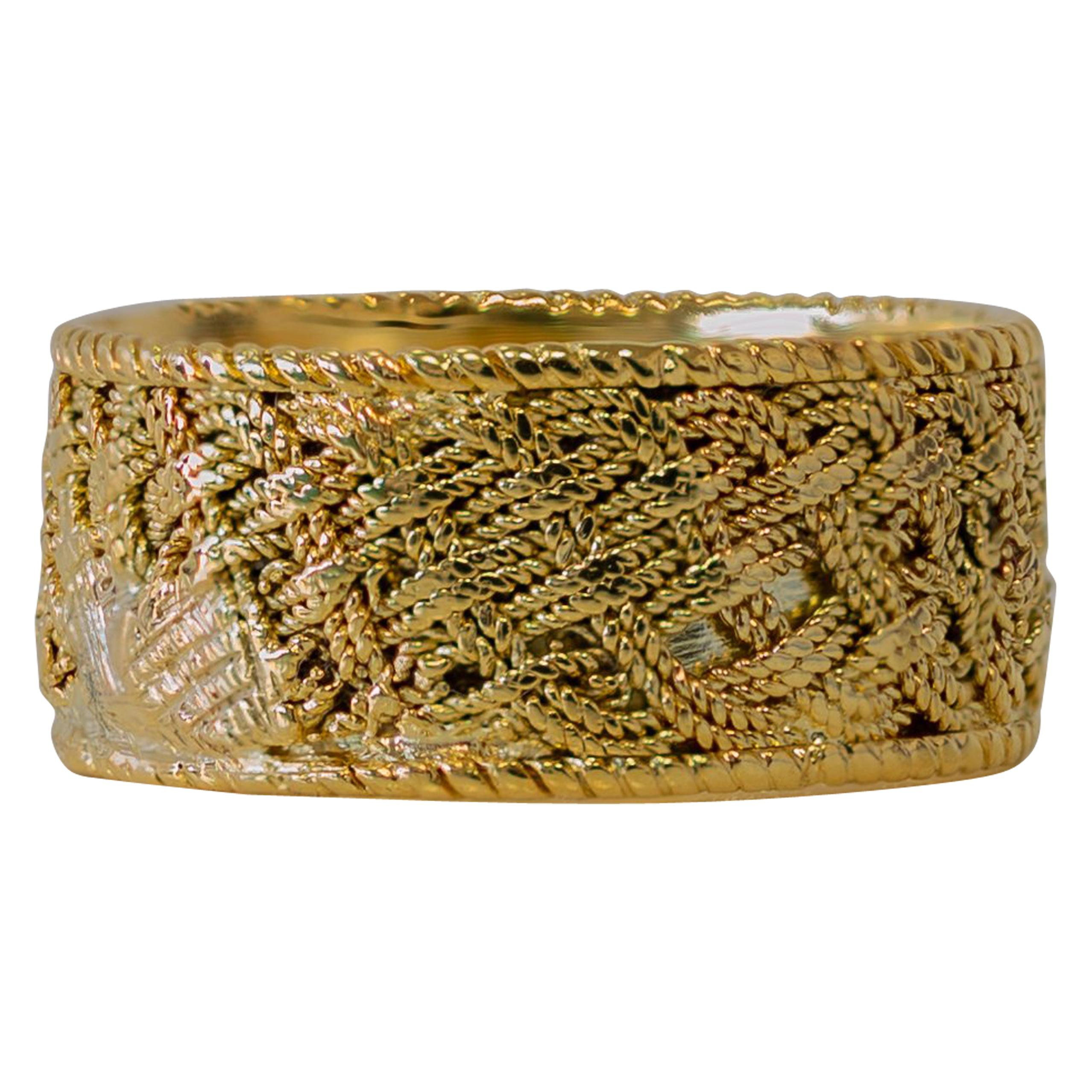 18 Karat Yellow Gold Tiffany & Co. Woven / Mesh Style Band Ring