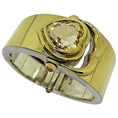 Bangle in Contemporary Art Design Silver and Gold 18 Karat Whit a Citrin Heart