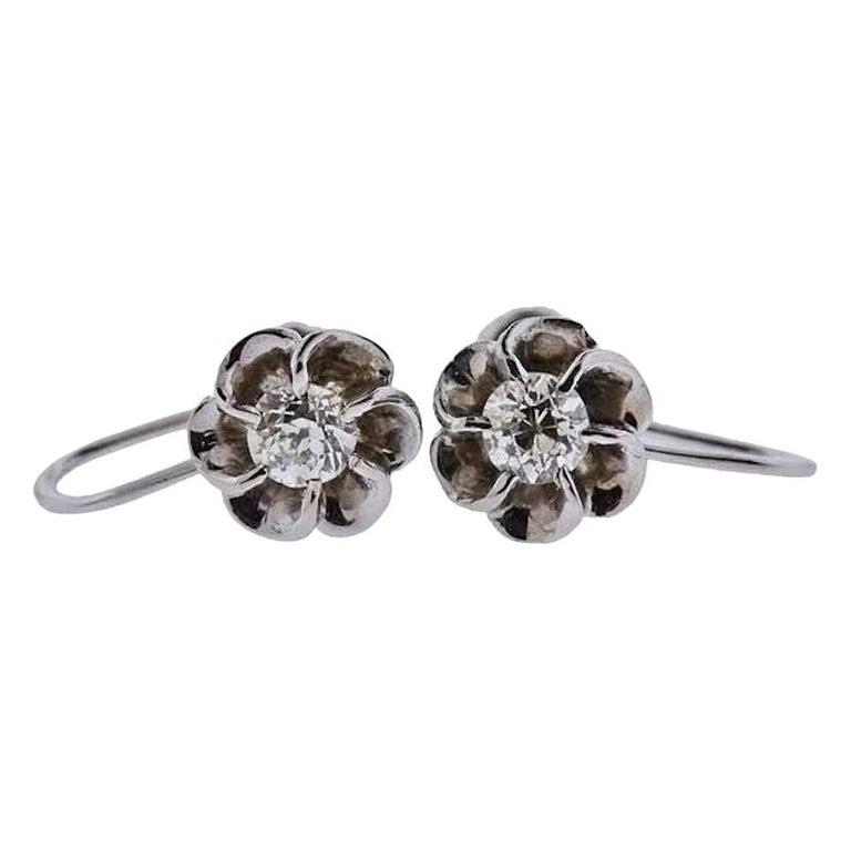 Vintage 14 Karat Gold 0.60 Carat Mine Cut Diamond Studs or Earrings For Sale