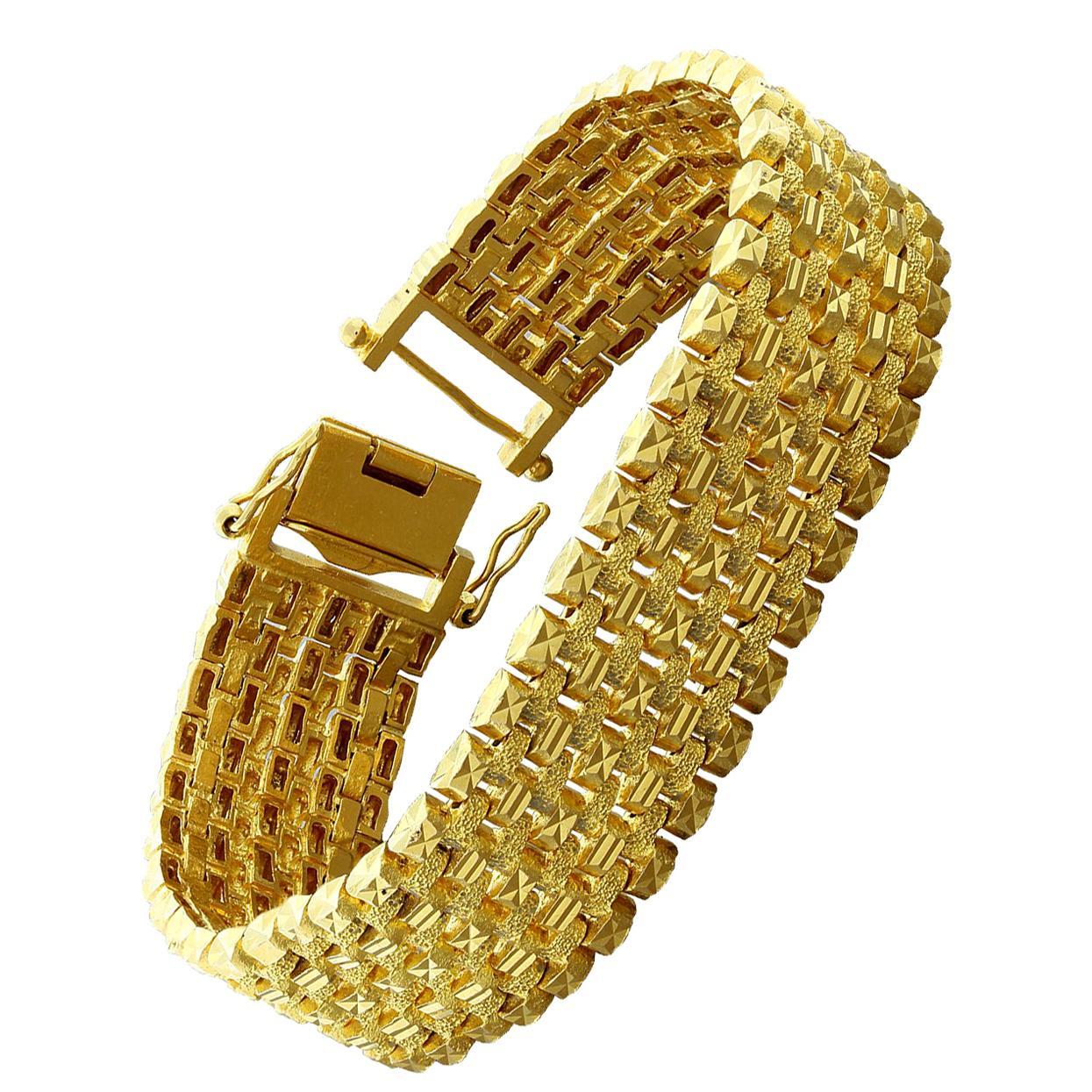 eb8a0517d8d1c Iranian Two-Tone Textured Gold Bracelet