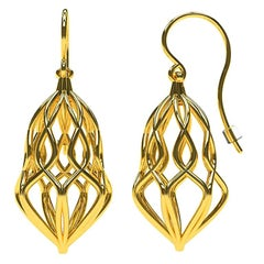 14 Karat Yellow Wire Dangle Earrings