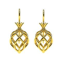 14 Karat Yellow Gold Pomegranate Wire Earrings