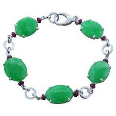 Estate Jadeite Jade Ruby Gold Bracelet
