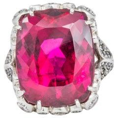 Red Tourmaline, Black Diamond, and White Diamond 18 Karat White Gold Ring