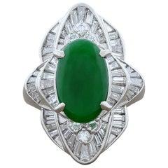 Estate Jade Diamond Platinum Navette Style Ring