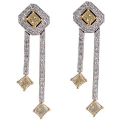 Fancy Yellow Diamond Dangle Earrings