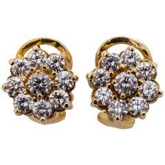Stunning Diamond Cluster Earrings 14 Karat YG 1.50 Carat F/VS2