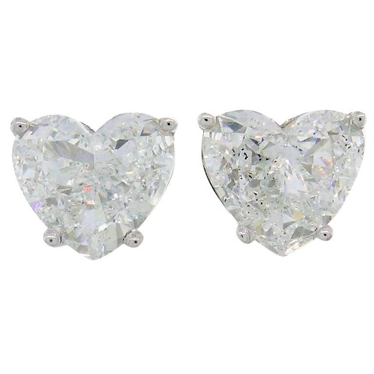Heart Diamond White Gold Stud Earrings For Sale