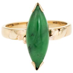 Vintage Jadeite Jade Ring 14 Karat Gold Marquise Cabochon Estate Fine Jewelry
