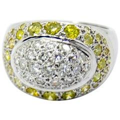 Yellow and White Diamond with 18 Karat White Gold