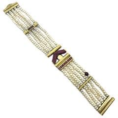 La Nouvelle Bague Japanese Pearl Bracelet 18 Karat Gold and Red Enameled