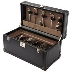 Full Tequila Bar Set with Leather Case, Engraved Rattlesnake Detail
