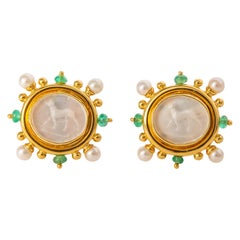 Elizabeth Locke Standing Dog Intaglio Earrings Framed with Pearls and Emeralds